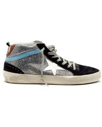 Golden Goose Deluxe Brand - Midstar Glitter And Suede Trainers - Lyst