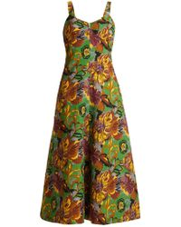 Duro Olowu | Floral-print V-neck Textured-cloqué Dress | Lyst