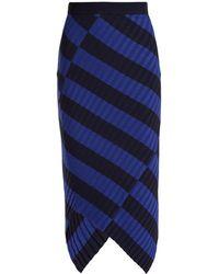 Altuzarra - Mallory Asymmetric Striped Ribbed-knit Midi Skirt - Lyst
