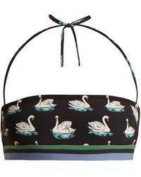 Stella McCartney - Swan Print Halterneck Bandeau Bikini Top - Lyst