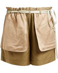 Valentino - Contrast Pocket Elasticated Waist Silk Shorts - Lyst