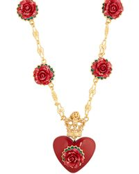 Dolce & Gabbana - Heart And Rose-pendant Necklace - Lyst