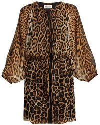 Saint Laurent - Leopard-print Georgette Dress - Lyst
