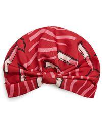 Valentino - - Lipstick Print Silk Faille Turban Hat - Womens - Red - Lyst