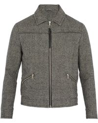 Lanvin - Hound's-tooth Wool Bomber Jacket - Lyst