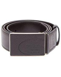 Prada - Rectangular-buckle Saffiano-leather Belt - Lyst