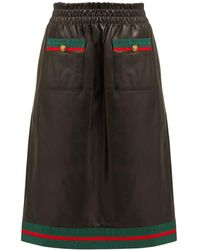 Gucci - Grosgrain Trimmed Leather Skirt - Lyst