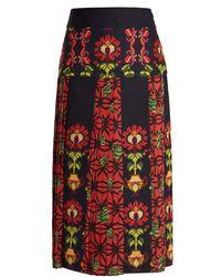 Stella Jean - Floral-print Pleated Cotton-blend Midi Skirt - Lyst