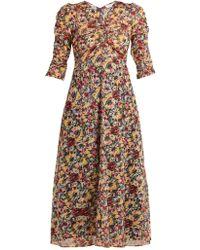 MASSCOB - Mina Rose-print Cotton Midi Dress - Lyst