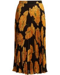 Gucci - Poppy-print Pleated Midi Skirt - Lyst