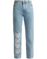 Off-White c/o Virgil Abloh - Embroidered Straight-leg Jeans - Lyst