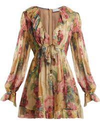 4ac649fc68 Zimmermann - Melody Floating Floral Print Silk Playsuit - Lyst