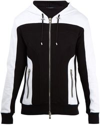 Balmain | Mesh Panelled Hooded Sweatshirt | Lyst