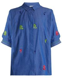 Thierry Colson - Ios Leaf-embroidered Cotton Shirt - Lyst