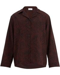 Raey - Squiggle-print Silk-crepe Pyjama Shirt - Lyst