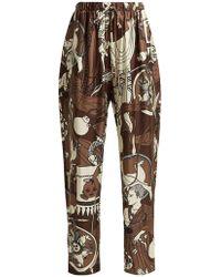 Edward Crutchley - Printed Silk Wide Leg Trousers - Lyst
