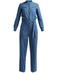 c7f294077f0 M.i.h Jeans - Margot Pinstriped Cotton Chambray Jumpsuit - Lyst