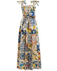 Dolce & Gabbana - Majolica-print Cotton Poplin Jumpsuit - Lyst
