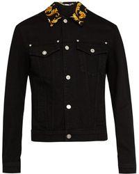 Versace - Black Denim Baroque Jacket - Lyst
