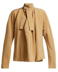 Lemaire - Draped Pussy-bow Blouse - Lyst