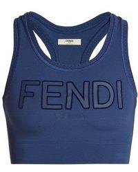 Fendi - - Roma Logo Sports Bra - Womens - Navy - Lyst