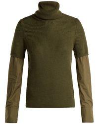 N°21 - Contrast-sleeve Roll-neck Wool Sweater - Lyst