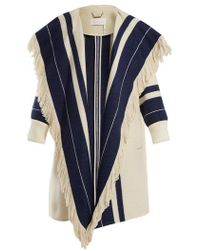 Chloé - Striped Cotton And Wool-blend Blanket Coat - Lyst