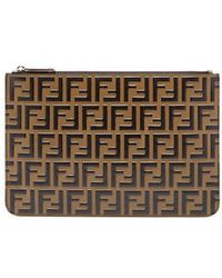 Fendi - - Ff Logo Leather Pouch - Mens - Black Brown - Lyst