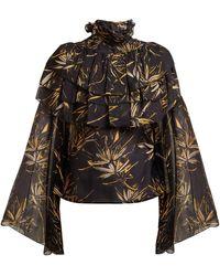 Rodarte - Palm-print Silk-chiffon Blouse - Lyst