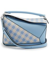 Loewe - Blue Gingham Puzzle Bag - Lyst