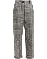 MM6 by Maison Martin Margiela - Cropped Checked Wool-blend Trousers - Lyst