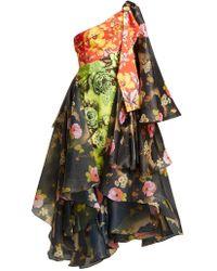 Richard Quinn - One Shoulder Floral Print Organza And Canvas Dress - Lyst