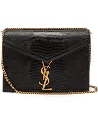 5141066a0235 Lyst - Saint Laurent Cassandra Leather Crossbody Bag Black in Black