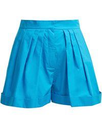 Vika Gazinskaya - High Rise Wide Leg Cotton Shorts - Lyst