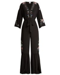 Vilshenko - Ailayah Floral-embroidered Silk Jumpsuit - Lyst