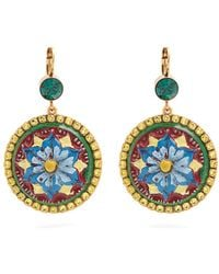 Dolce & Gabbana - Floral-drop Crystal-embellished Earrings - Lyst