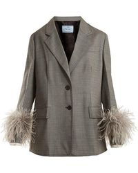 Prada - Feather-cuff Tailored Suit-jacket - Lyst