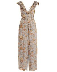 Zimmermann - Painted Heart Floral-print Silk Jumpsuit - Lyst