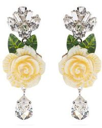 Dolce & Gabbana - Rose And Crystal-drop Clip-on Earrings - Lyst
