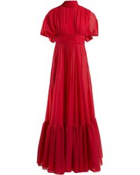 Giambattista Valli Cut Out Silk Crepe De Chine Gown - Red