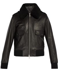 AMI - Shearling Collar Leather Bomber Jacket - Lyst