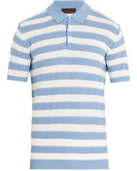 Altea   Striped Cotton-crepe Polo Shirt   Lyst
