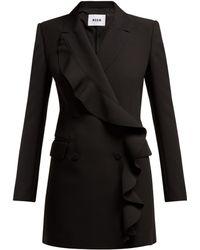MSGM - Robe blazer courte en crêpe à volants - Lyst