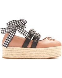 Miu Miu - Leather Espadrille Flatform Ballet Court Shoes - Lyst