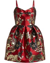 Dolce & Gabbana - Floral And Leopard Brocade Mini Dress - Lyst