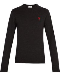 AMI - Logo-embroidered Wool Sweater - Lyst