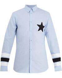 Givenchy - Star-appliqué Point-collar Cotton Shirt - Lyst