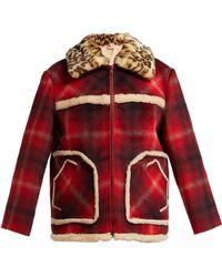 N°21 - Leopard Print Collar Tartan Jacket - Lyst