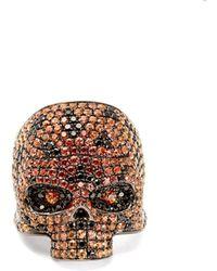 Lynn Ban - Ombré Sapphire & Rhodium Skull Ring - Lyst