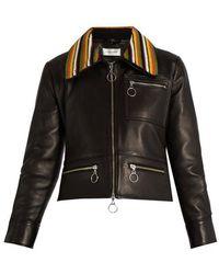 Wales Bonner - Crochet-collar Leather Biker Jacket - Lyst
